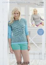 Sirdar Cotton Prints DK - 7766 Top & Sweater Knitting Pattern